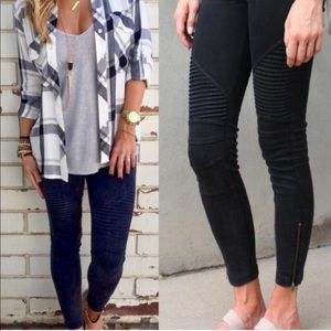 **Black** Moto Jeggings with ankle zipper